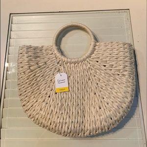 NWT L'Occitabe Handmade Round Handle Raffia Bag
